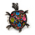 Multicoloured Crystal 'Turtle' Flex Ring In Burn Silver Metal - 5.5cm Length - (Size 7/9) - view 7