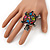 Multicoloured Crystal 'Turtle' Flex Ring In Burn Silver Metal - 5.5cm Length - (Size 7/9) - view 2