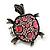Pink Crystal 'Turtle' Flex Ring In Burn Silver Metal - 5.5cm Length - (Size 7/9)