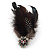 Oversized Black/White Feather 'Owl' Stretch Ring In Gold Plating - Adjustable - 13cm Length - view 9