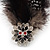 Oversized Black/White Feather 'Owl' Stretch Ring In Gold Plating - Adjustable - 13cm Length - view 3