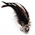 Oversized Black/White Feather 'Owl' Stretch Ring In Gold Plating - Adjustable - 13cm Length - view 5