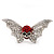 Clear/Red Diamante Flying Skull Stretch Ring In Silver Tone Metal - 4.5cm Length (Size 8/9) - view 5