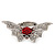 Clear/Red Diamante Flying Skull Stretch Ring In Silver Tone Metal - 4.5cm Length (Size 8/9) - view 6
