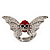 Clear/Red Diamante Flying Skull Stretch Ring In Silver Tone Metal - 4.5cm Length (Size 8/9) - view 3