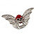 Clear/Red Diamante Flying Skull Stretch Ring In Silver Tone Metal - 4.5cm Length (Size 8/9) - view 7