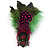 Oversized Green/Magenta/Red Feather 'Indian Skull' Stretch Ring In Silver Plating - Adjustable - 12cm Length