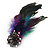 Oversized Green/Purple/Blue Feather 'Peacock' Stretch Ring In Silver Plating - Adjustable - 15cm Length - view 6