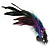 Oversized Green/Purple/Blue Feather 'Peacock' Stretch Ring In Silver Plating - Adjustable - 15cm Length - view 10