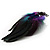 Oversized Green/Purple/Blue Feather 'Peacock' Stretch Ring In Silver Plating - Adjustable - 15cm Length - view 8