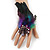 Oversized Green/Purple/Blue Feather 'Peacock' Stretch Ring In Silver Plating - Adjustable - 15cm Length - view 3