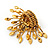 Stunning Citrine/ Amber Coloured Swarovski Crystal 'Peacock' Flex Ring In Gold Metal - 7.5cm Length (Size 7/8) - view 7