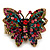 Madame Butterfly Statement Stretch Burn Gold Ring (Multicoloured) - Adjustable size 7/8