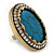 Large Oval Turquoise Stone Crystal Cocktail Ring In Antique Gold Metal - Adjustable (Size 7/9) - 4.5cm Length