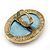 Large Oval Turquoise Stone Crystal Cocktail Ring In Antique Gold Metal - Adjustable (Size 7/9) - 4.5cm Length - view 4