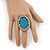 Large Oval Turquoise Stone Crystal Cocktail Ring In Antique Gold Metal - Adjustable (Size 7/9) - 4.5cm Length - view 3