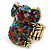 Swarovski Encrusted Koala Cocktail Stretch Ring In Burn Gold Finish (Multicoloured Crystals) - Adjustable size 7/8 - view 2