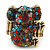 Swarovski Encrusted Koala Cocktail Stretch Ring In Burn Gold Finish (Multicoloured Crystals) - Adjustable size 7/8 - view 5