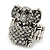 Swarovski Encrusted Koala Cocktail Stretch Ring In Burn Silver Finish (Clear Crystals) - Adjustable size7/8 - view 2