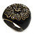 Dark Grey Crystal Floral Black Enamel Shield Ring In Bronze Tone