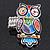Multicoloured Enamel 'Owl' Stretch Ring In Rhodium Plating - Adjustable (Size 7/9) - 4.5cm Length