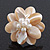 Light Light Cream Mother of Pearl/Freshwater Bead 'Flower' Ring In Silver Plating - Adjustable (Size 8/9) - 3.5cm Diameter