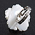 White Mother of Pearls/Multicoloured Crystal 'Flower' Ring In Silver Plating - Adjustable (Size 7/9) - 3cm Diameter - view 5
