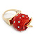 'Berry Irresistible' Crystal and Resin Apple Ring In Gold Plating - Size 8 - view 5