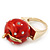 'Berry Irresistible' Crystal and Resin Apple Ring In Gold Plating - Size 8 - view 6