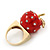 'Berry Irresistible' Crystal and Resin Apple Ring In Gold Plating - Size 8 - view 3