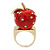 'Berry Irresistible' Crystal and Resin Apple Ring In Gold Plating - Size 8 - view 7