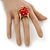'Berry Irresistible' Crystal and Resin Apple Ring In Gold Plating - Size 8 - view 4