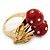 'Berry Irresistible' Crystal and Resin Cherry Ring In Gold Plating - Size 8