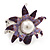 Lavender/ Deep Purple Enamel, Crystal, Simulated Pearl Calla Lily Flex Ring In Rhodium Plating - Size 7/8 - view 6
