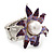 Lavender/ Deep Purple Enamel, Crystal, Simulated Pearl Calla Lily Flex Ring In Rhodium Plating - Size 7/8 - view 3