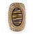Large Oval Diamante Animal Print Flex Ring In Brushed Gold Metal - 3.7cm Length - Adjustable - view 4