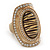 Large Oval Diamante Animal Print Flex Ring In Brushed Gold Metal - 3.7cm Length - Adjustable - view 2
