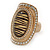 Large Oval Diamante Animal Print Flex Ring In Brushed Gold Metal - 3.7cm Length - Adjustable - view 9