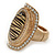 Large Oval Diamante Animal Print Flex Ring In Brushed Gold Metal - 3.7cm Length - Adjustable - view 8