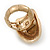 Large Oval Diamante Animal Print Flex Ring In Brushed Gold Metal - 3.7cm Length - Adjustable - view 5