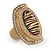 Large Oval Diamante Animal Print Flex Ring In Brushed Gold Metal - 3.7cm Length - Adjustable - view 10