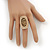Large Oval Diamante Animal Print Flex Ring In Brushed Gold Metal - 3.7cm Length - Adjustable - view 3