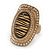 Large Oval Diamante Animal Print Flex Ring In Brushed Gold Metal - 3.7cm Length - Adjustable - view 11