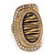 Large Oval Diamante Animal Print Flex Ring In Brushed Gold Metal - 3.7cm Length - Adjustable - view 12