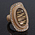 Large Oval Diamante Animal Print Flex Ring In Brushed Gold Metal - 3.7cm Length - Adjustable