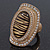 Large Oval Diamante Animal Print Flex Ring In Brushed Gold Metal - 3.7cm Length - Adjustable - view 13
