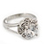 Rhodium Plated Split Shank Round Cut CZ Crystal 'Meret' Solitaire Ring - 8mm length - view 5