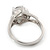 Rhodium Plated Split Shank Round Cut CZ Crystal 'Meret' Solitaire Ring - 8mm length - view 4