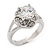 Rhodium Plated Split Shank Round Cut CZ Crystal 'Meret' Solitaire Ring - 8mm length - view 7