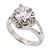 Rhodium Plated Split Shank Round Cut CZ Crystal 'Meret' Solitaire Ring - 8mm length - view 3